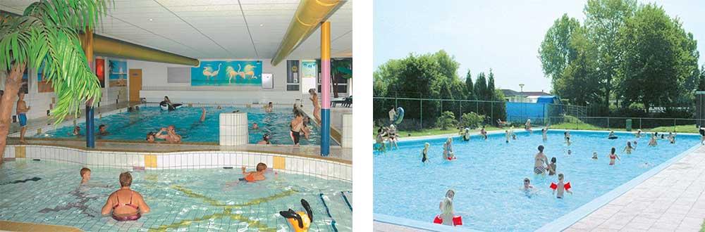 Binnen- en buitenzwembad op deze camping in Gelderland.