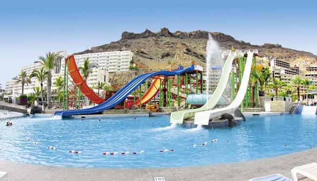 Hotel Paradise Lago Taurito & Waterpark, groot aquapark bij dit resort op Gran Canaria.
